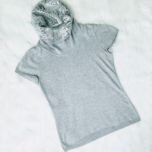 MICHAEL KORS Sequin Cowl Neck Cap Sleeved Top